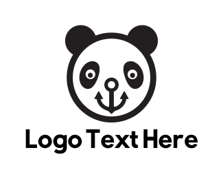 Panda - Smiling Anchor Panda Bear logo design