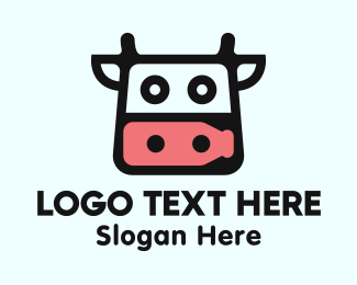 Animal - Cow Milk Head  logo design