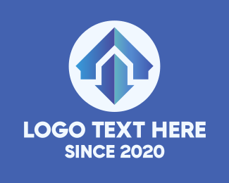Down - Blue Home Maintenance Arrow logo design