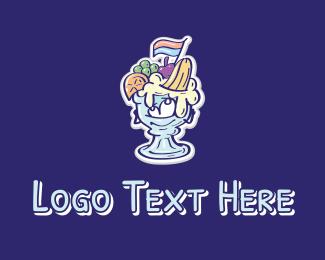 Sorbet - Fruit Dessert Mascot  logo design