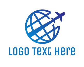 Global - Blue Global Airplane logo design
