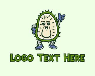 Fresh Produce - Durian Fruit Mascot logo design