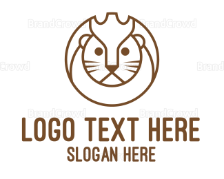 Wildlife - Lion Circle Outline logo design