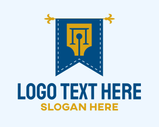 Fountain - Writer Pen Flag logo design