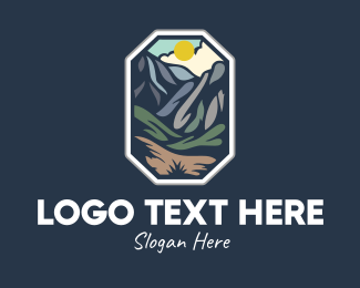 Mountainside - Outdoor Stained Glass Mountain logo design