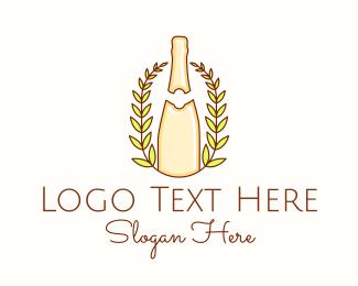 Vintage - Wine Bottle Wreath logo design