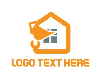 Bulldozer - House Construction logo design