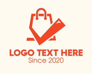 Check Mark - Orange Shopping Bag Check Mark logo design