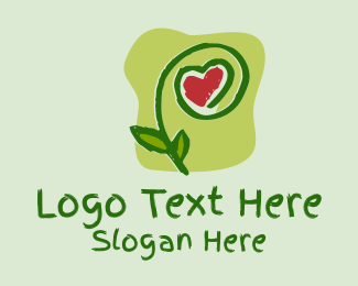 Green Thumb - Painted Heart Plant  logo design