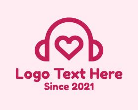 App - Red Heart Headphones logo design