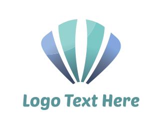 Island - Blue Sea Shell logo design