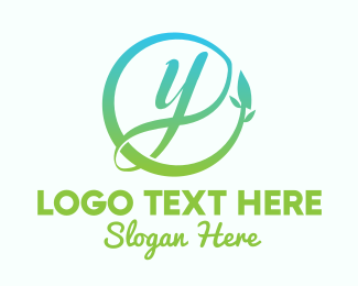 Wellbeing - Natural Leaf Circle Letter Y logo design