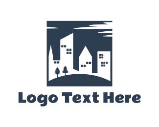 Hostel - Buildings & Park logo design