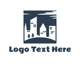 Hostel - Buildings & Park logo design