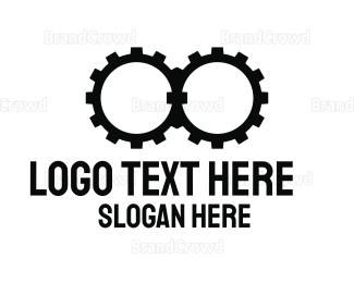 Telescope - Black Gear Binoculars logo design