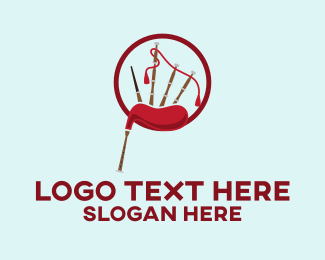Sax - Musical Red Bagpipe logo design