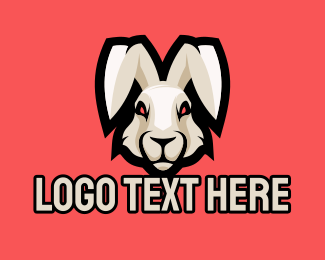 Red Eye - Wild Hare Rabbit Mascot logo design