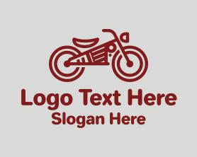Steampunk - Red Steampunk Motorcycle logo design