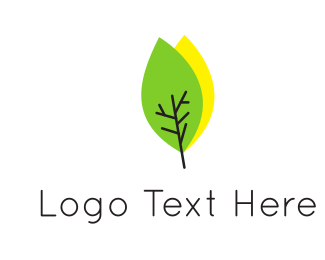 Acupuncture - Green & Yellow Leaves logo design