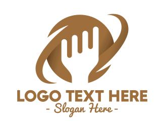 Brown - Brown Fork Planet logo design