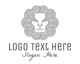Animal - Lion Head Line Art logo design