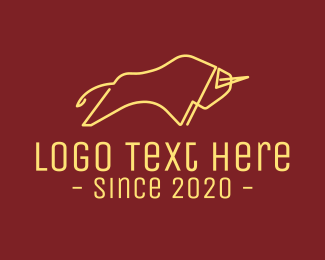 Vip - Minimalist Golden Bull logo design