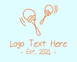 Percussion Instrument - Orange Maracas  logo design