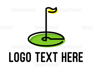Hole - Golf Flag Outline logo design