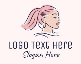 Maiden - Pink Hair Beauty Salon logo design