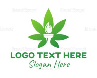 Cbd - Cannabis Torch logo design