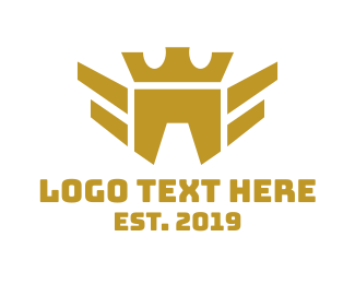Gold Wings - Geometric Bird Crown logo design