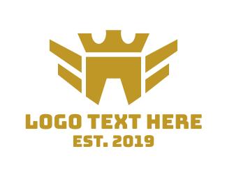 Aeronautics - Geometric Bird Crown logo design