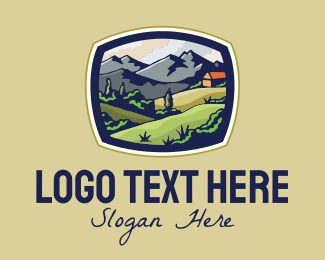 Farmland - Countryside Cabin Vista View logo design