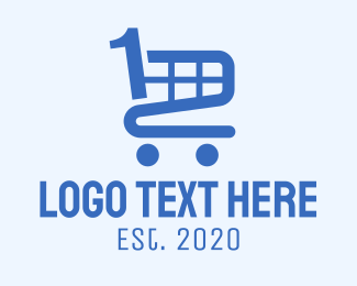 One - Blue Shopping Cart Number 1 logo design