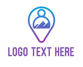 Locator - Blue Person Location Finder logo design