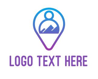 Communication - Blue Person Location Finder logo design