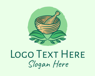 Green Bowl - Mortar & Pestle Herbs  logo design