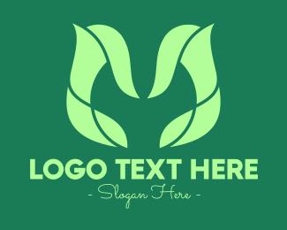 Resource - Green Nature Letter M logo design