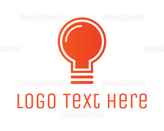 Filament - Orange Light Bulb logo design