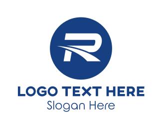 F1 - Blue Racing Letter R logo design