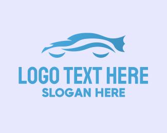 Blue Car - Blue Car Silhouette logo design