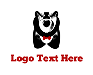 Characters - Big Bear & Bowtie logo design