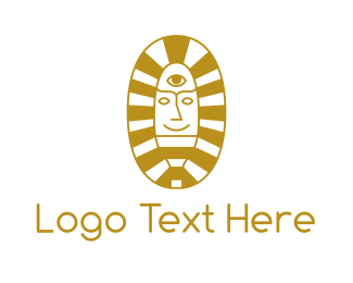 Pharaoh - Oval Egyptian Pharaoh logo design
