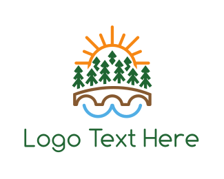 River - Forest Bridge logo design