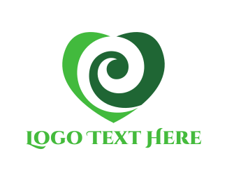 Romantic - Green Heart logo design