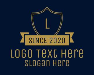 Formal - Elegant Gold Banner Lettermark logo design