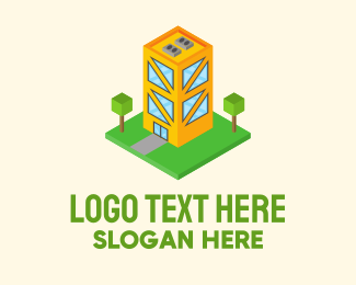 Building Maintenance - Isometric Condo Building  logo design