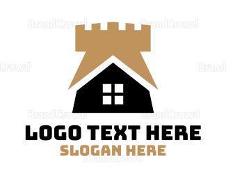 Medieval - Gold Castle House logo design
