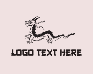 Reptile - Black Dragon logo design