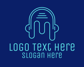 Music Streamer - Head Outline Headphones logo design